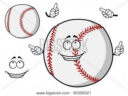 Happy cartoon baseball ball pointing its fingers