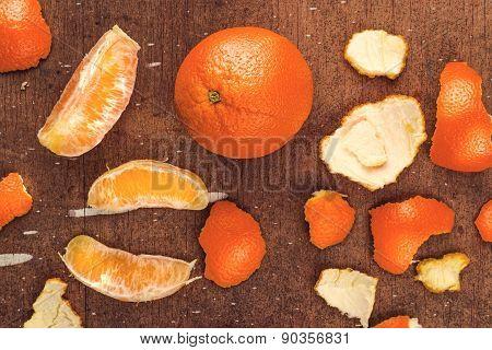 Fresh Ripe Sweet Orange Fruit On Rustic Brown Wood Background