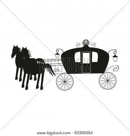 Vintage black carriage and black horse isolated on white background