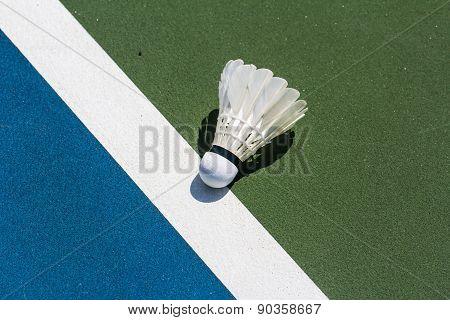Shuttlecock Badminton On Court Background