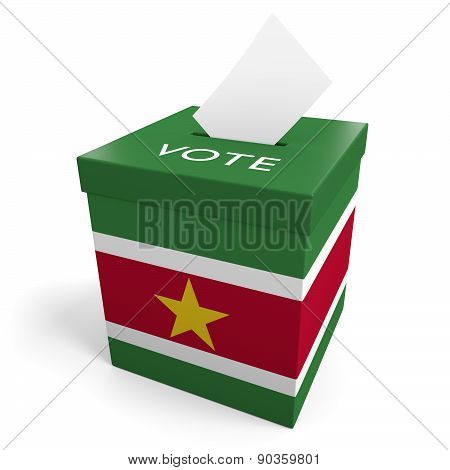 Suriname election ballot box for collecting votes