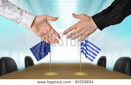 European Union and Greece diplomats agreeing on a deal