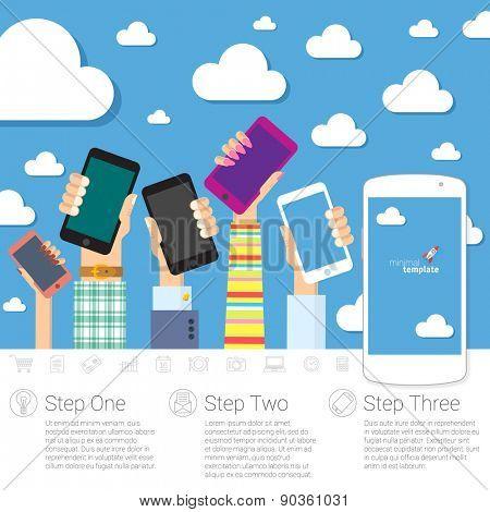 Flat design concept for digital communications