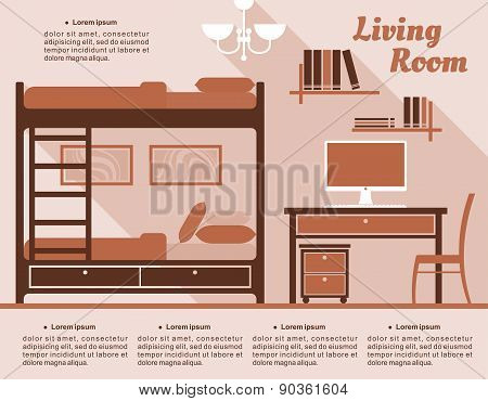 Living room interior decor infographic