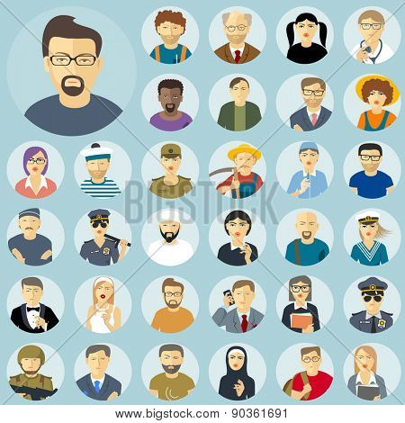 Human characters flat design icon set.Social groups, people characters and professions.
