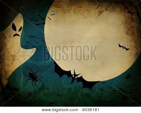 Vintage Halloween Card Or Background In Blue Design