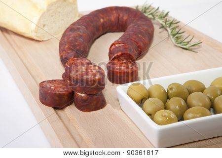 Chorizo On Cutting Board