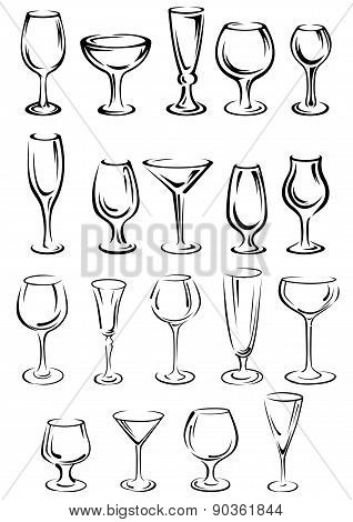Doodle glassware and dishware sketches set