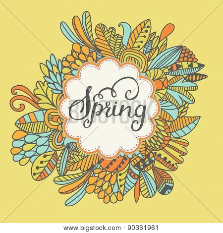 Bright spring concept background in vector. Sweet colorful floral card. Ideal for any type of holiday invitations