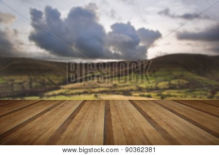 Kinder Low And Brown Knoll In Peak District National Park With Wooden Planks Floor