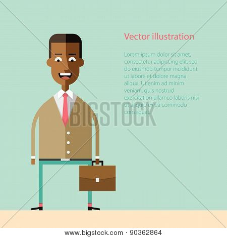 African american businessman with a briefcase