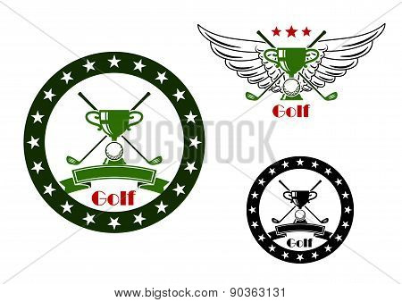 Golf tournament emblems and symbols