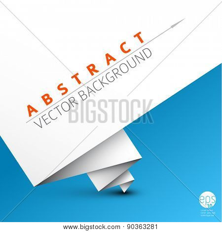 Vector simple background with folded white paper and some sample text on a blue background