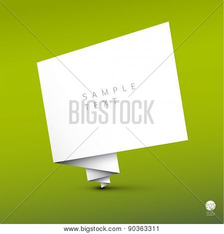 Vector simple background with folded white paper and some sample text on green background
