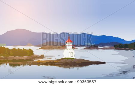 Lighthouse on fjord coast in Norway.