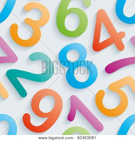 Colorful numbers wallpaper. Seamless background with 3D effect. Vector EPS10.