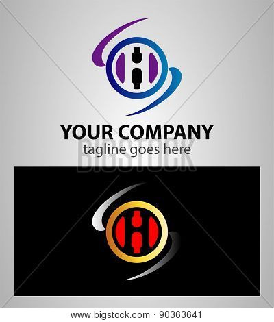 Letter H logo icon design template elements. Vector round sign