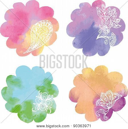 Set watercolor rainbow circle paint spots isolated on a white background