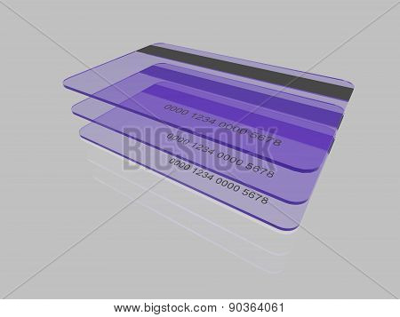 Credit cards on reflective background
