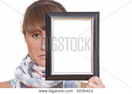 Sad Woman With Photo Frame