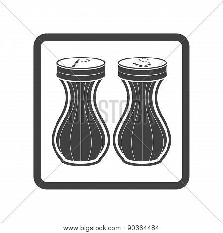 Vector illustration of seasoning icon. Salt and pepper on white
