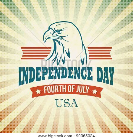 Independence Day holiday card with typography and an eagle. Vector illustration