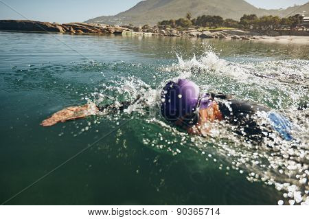 Man  Swimming On A Triathletic Competition