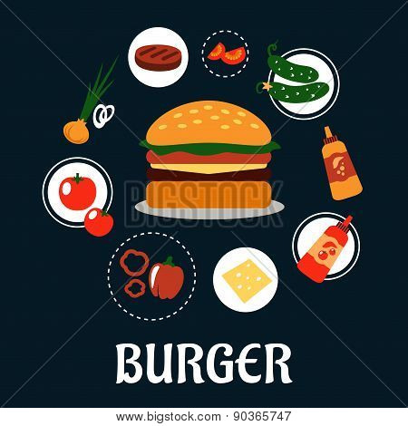 Tasty burger concept with ingredients
