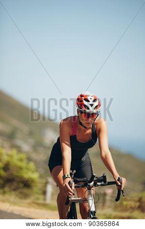 Cyclist Practicing For Triathlon Competition