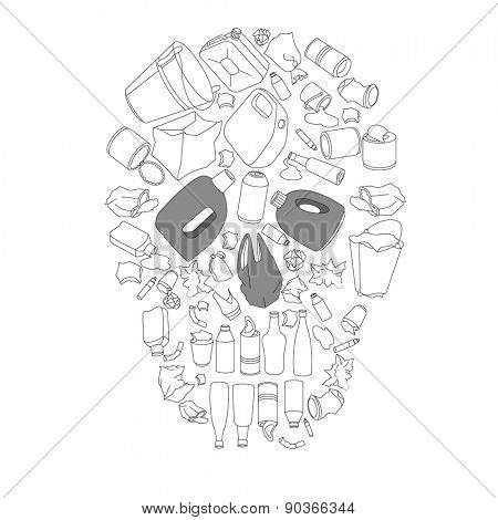 Environment pollution concept picture. Cotour black-and-white skull made of garbage isolated on white