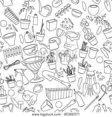 Seamless pattern with gardening tools, flower pots,herbs and vegetables. Contour.outline,black-and-white.