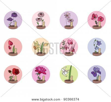 Flowers. Aster,peony,daffodil,tulip,rose,iris and others.  Set of round icons