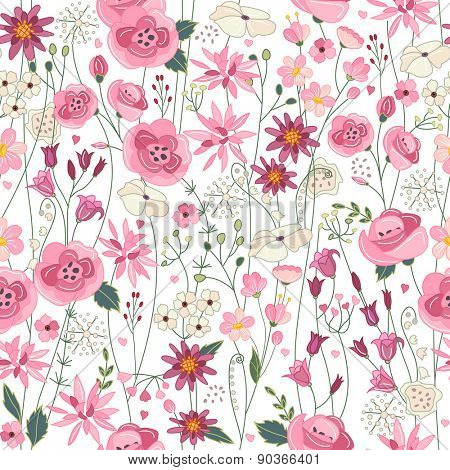 Seamless pattern with pink and red contour summer flowers
