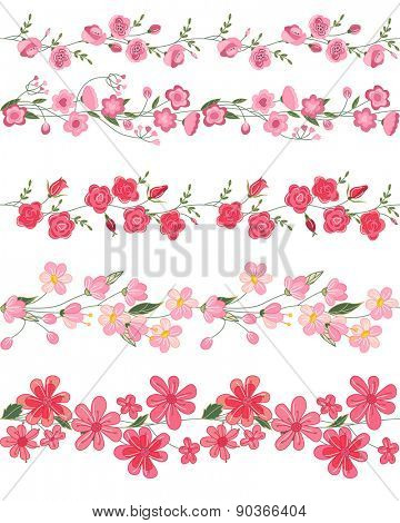 Seamless pattern brush with stylized bright summer flowers. Endless horizontal texture. Pink and red colors.