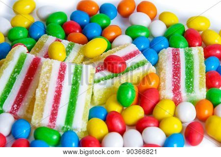 Colorful Candies And Marmalade. Selective Focus