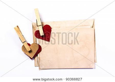 isolated vintage envelope for love text and two hearts