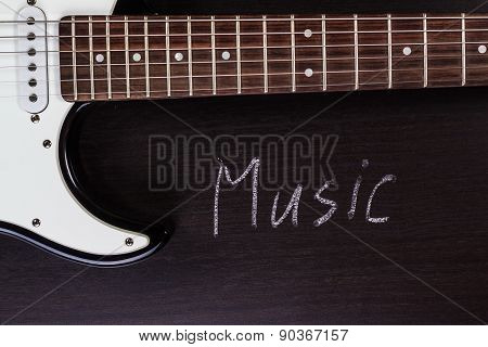 Electric guitar with word