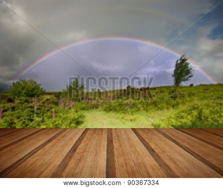 Rainbow In Stromy Sky Above Landscape Of Foxgloves With Wooden Planks Floor