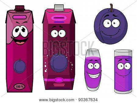 Plum fruit and juice drinks with happy face