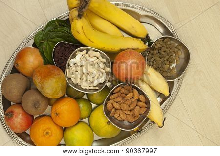 Fruits and dry fruits from thread ceremony function, India