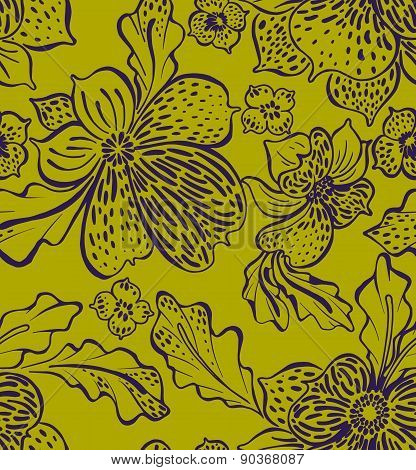 vector orchid outline pattern