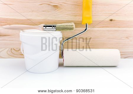Paint Roller With Paint Can And Brush