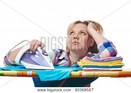 Dreamy Housewife Woman Ironed Clothes