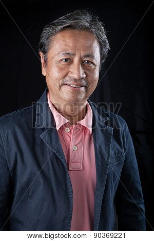 Portrait Head Shot Of Smiling Face With Happiness Emotion Senior Asian Man With Studio Light