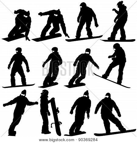 Black Silhouettes Set Snowboarders On White Background.
