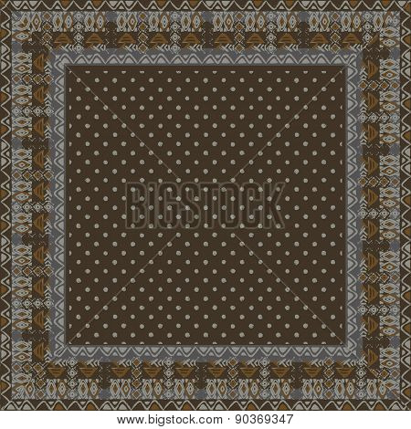 Ethnic seamless pattern with american indian traditional ornament in black and white colors. Polka d