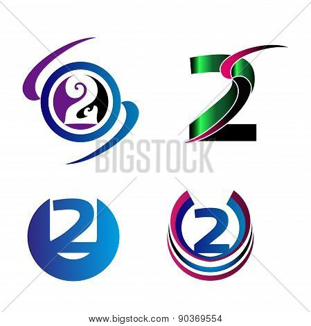 Abstract Number 2 logo Symbol icon