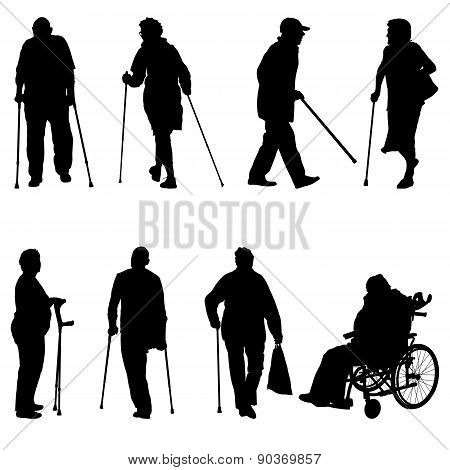 Silhouette Of Disabled People On A White Background. Vector Illu