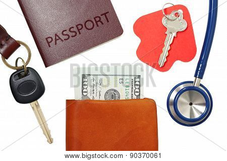 Car Key, House Key, Passport And Stethoscope With Money In Wallet