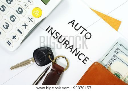 Auto Insurance With Car Key And Money